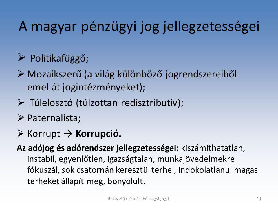 A magyar pénzügyi jog jellegzetességei