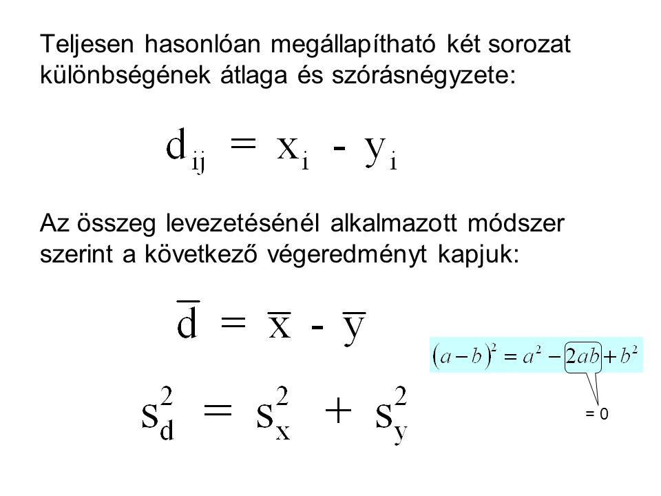 Teljesen hasonlóan megállapítható két sorozat különbségének átlaga és szórásnégyzete: