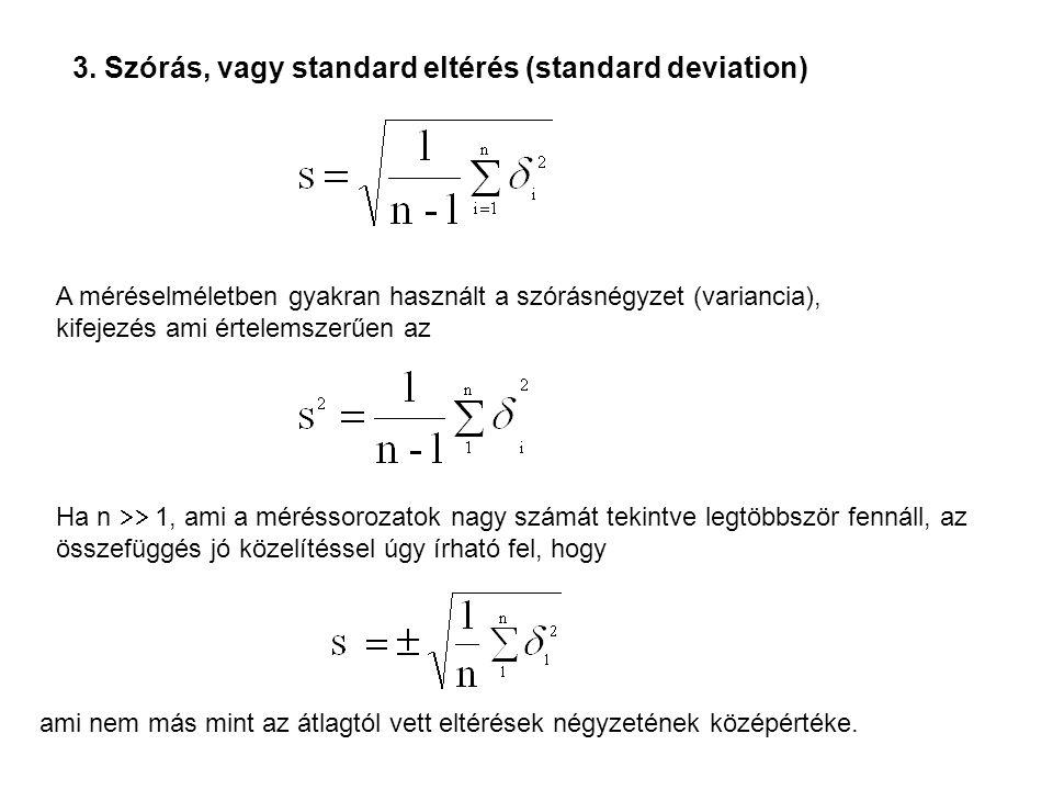 3. Szórás, vagy standard eltérés (standard deviation)