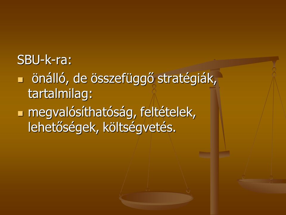 SBU-k-ra: önálló, de összefüggő stratégiák, tartalmilag: megvalósíthatóság, feltételek, lehetőségek, költségvetés.