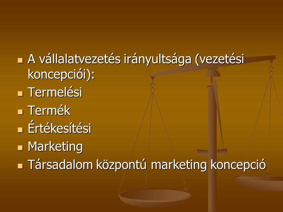 A vállalatvezetés irányultsága (vezetési koncepciói):