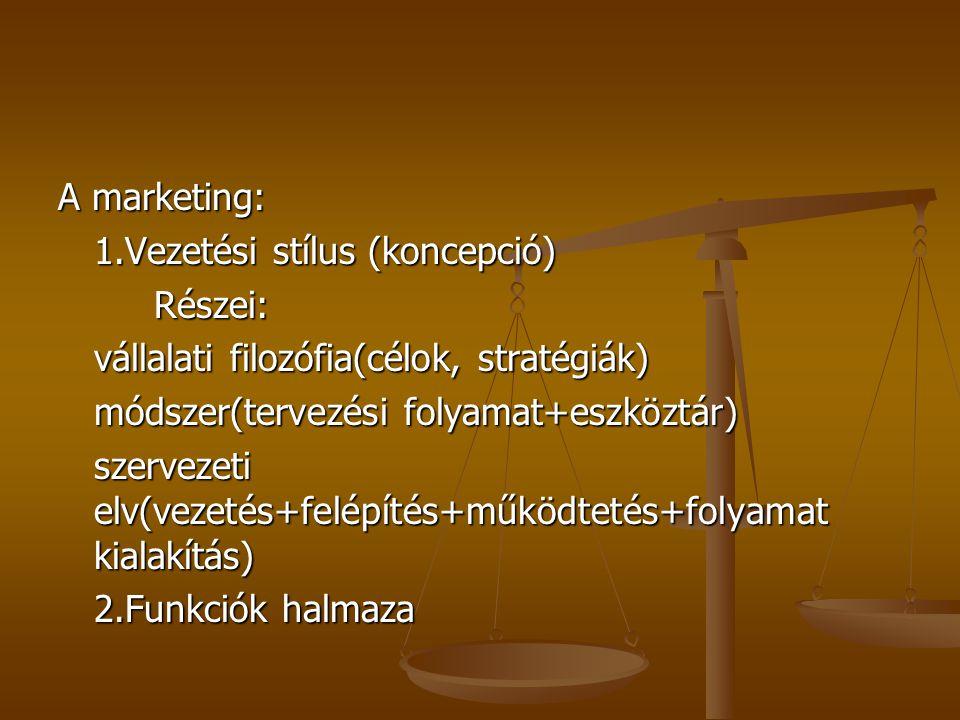 A marketing: 1.Vezetési stílus (koncepció) Részei: vállalati filozófia(célok, stratégiák) módszer(tervezési folyamat+eszköztár)