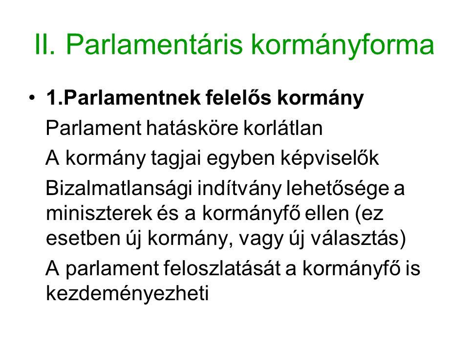 II. Parlamentáris kormányforma