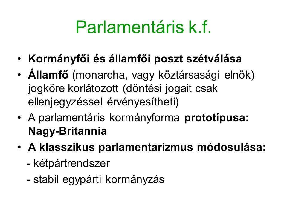Parlamentáris k.f. Kormányfői és államfői poszt szétválása