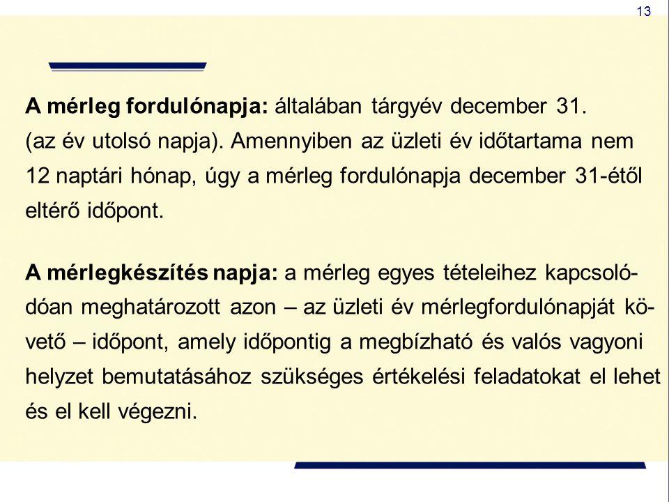 A mérleg fordulónapja: általában tárgyév december 31.