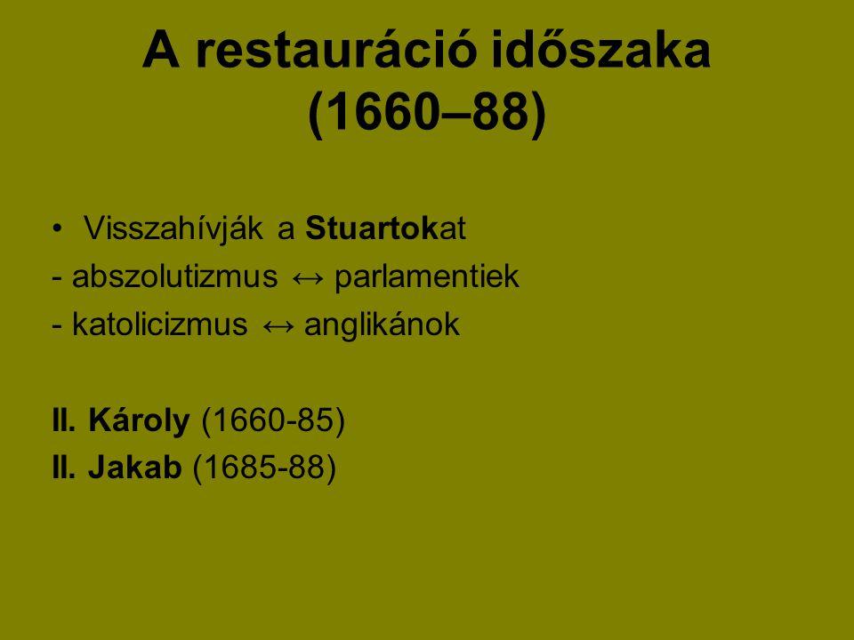 A restauráció időszaka (1660–88)