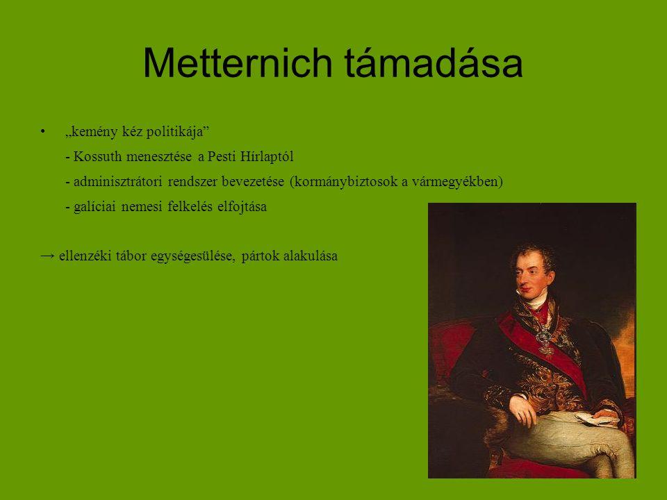 """Metternich támadása """"kemény kéz politikája"""