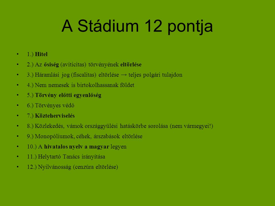 A Stádium 12 pontja 1.) Hitel