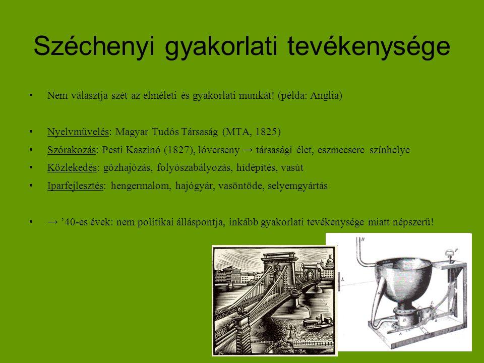Széchenyi gyakorlati tevékenysége