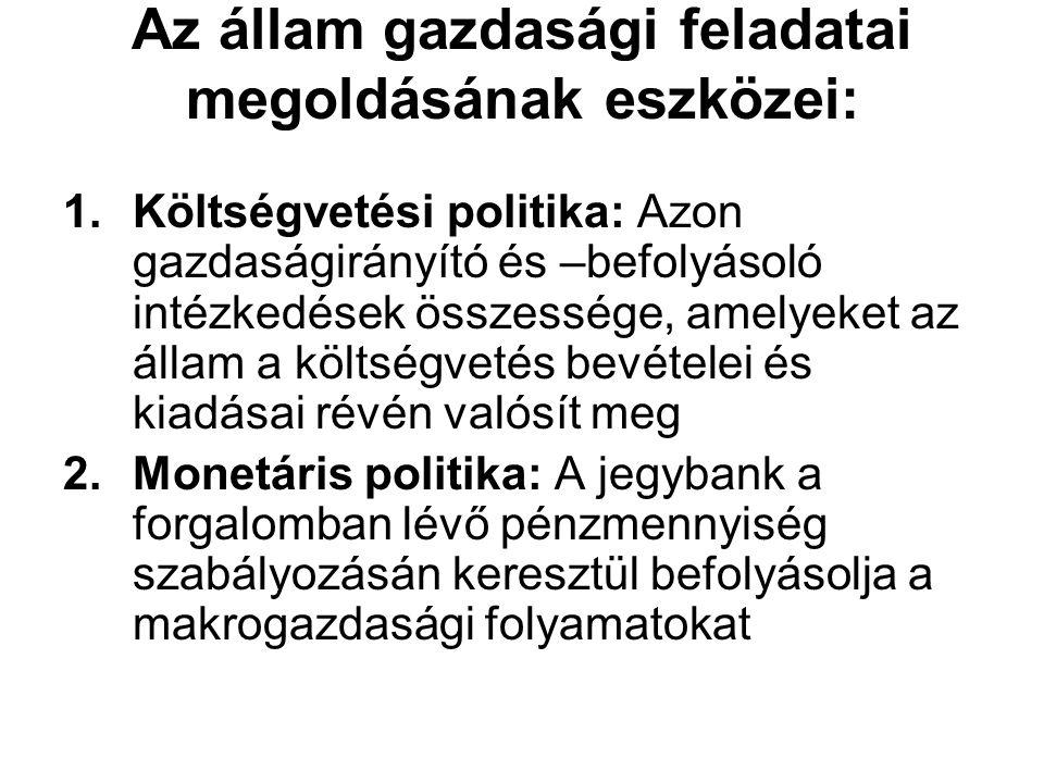 Az állam gazdasági feladatai megoldásának eszközei: