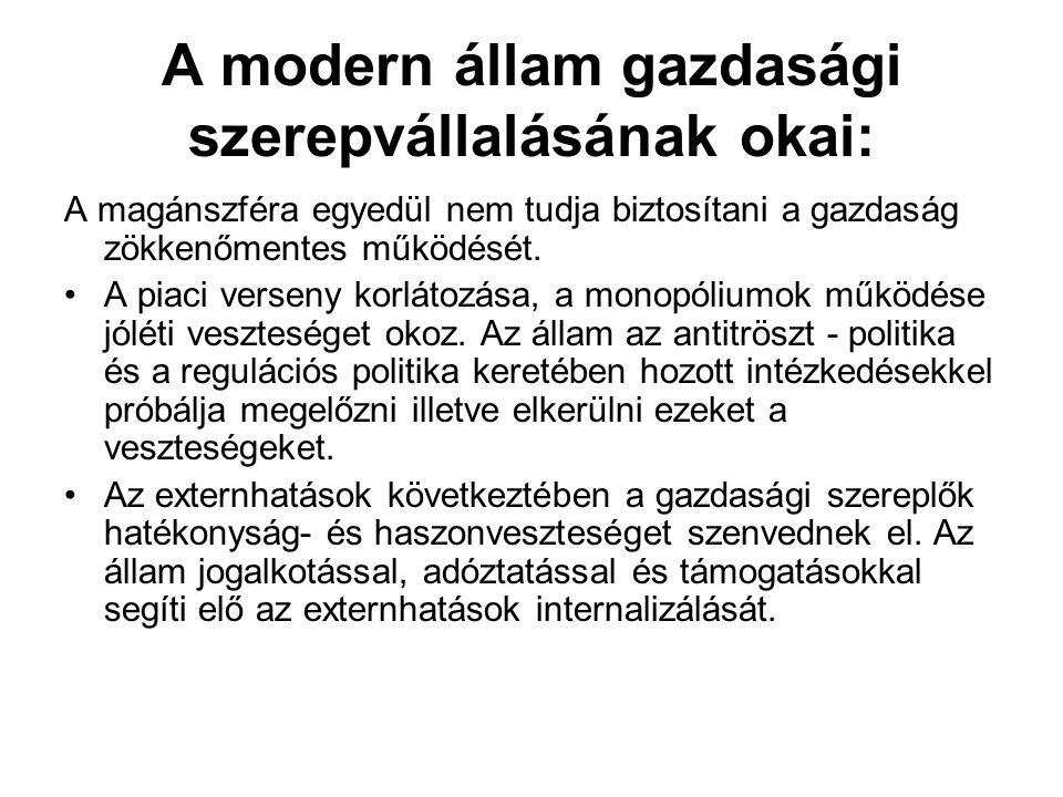 A modern állam gazdasági szerepvállalásának okai: