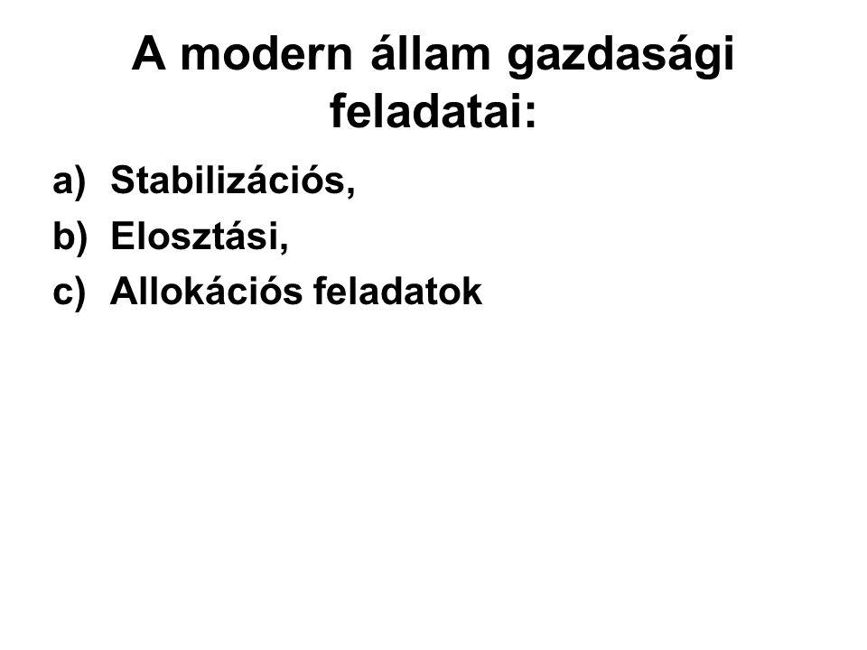 A modern állam gazdasági feladatai: