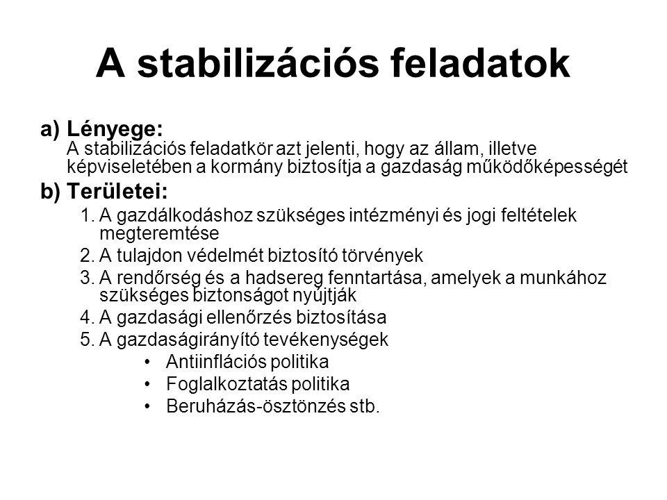 A stabilizációs feladatok