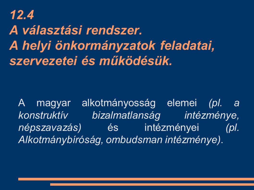 12.4 A választási rendszer. A helyi önkormányzatok feladatai, szervezetei és működésük.