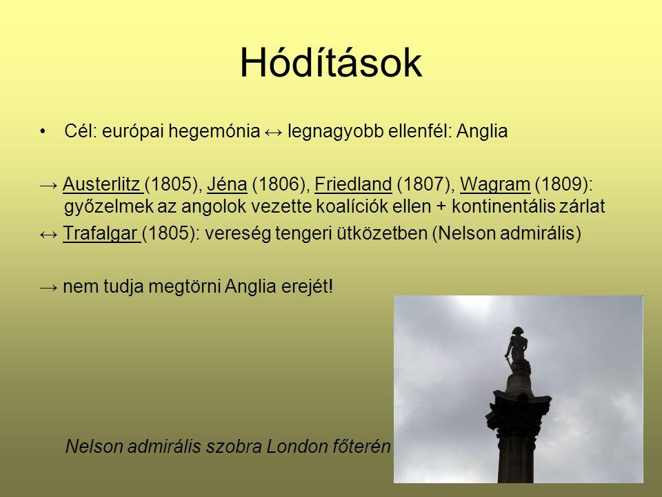 Hódítások Cél: európai hegemónia ↔ legnagyobb ellenfél: Anglia