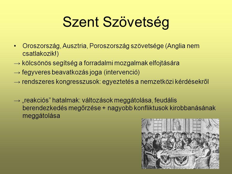 Szent Szövetség Oroszország, Ausztria, Poroszország szövetsége (Anglia nem csatlakozik!) → kölcsönös segítség a forradalmi mozgalmak elfojtására.