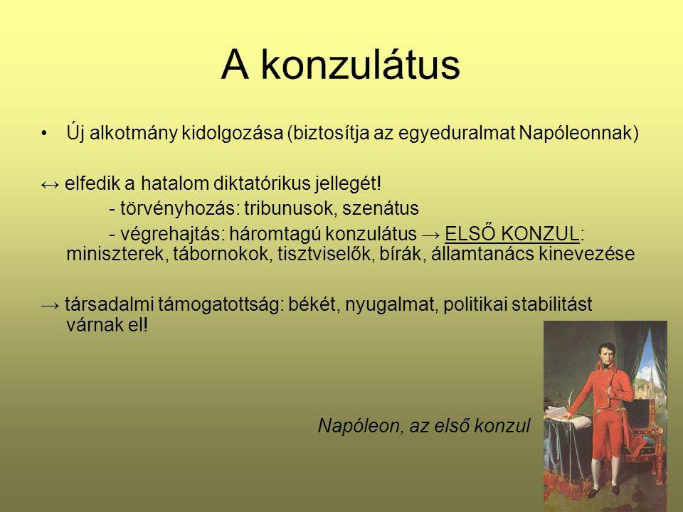 A konzulátus Új alkotmány kidolgozása (biztosítja az egyeduralmat Napóleonnak) ↔ elfedik a hatalom diktatórikus jellegét!