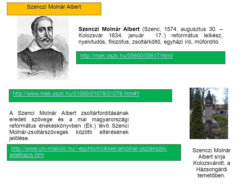 Szenczi Molnár Albert sírja Kolozsvárott, a Házsongárdi temetőben.