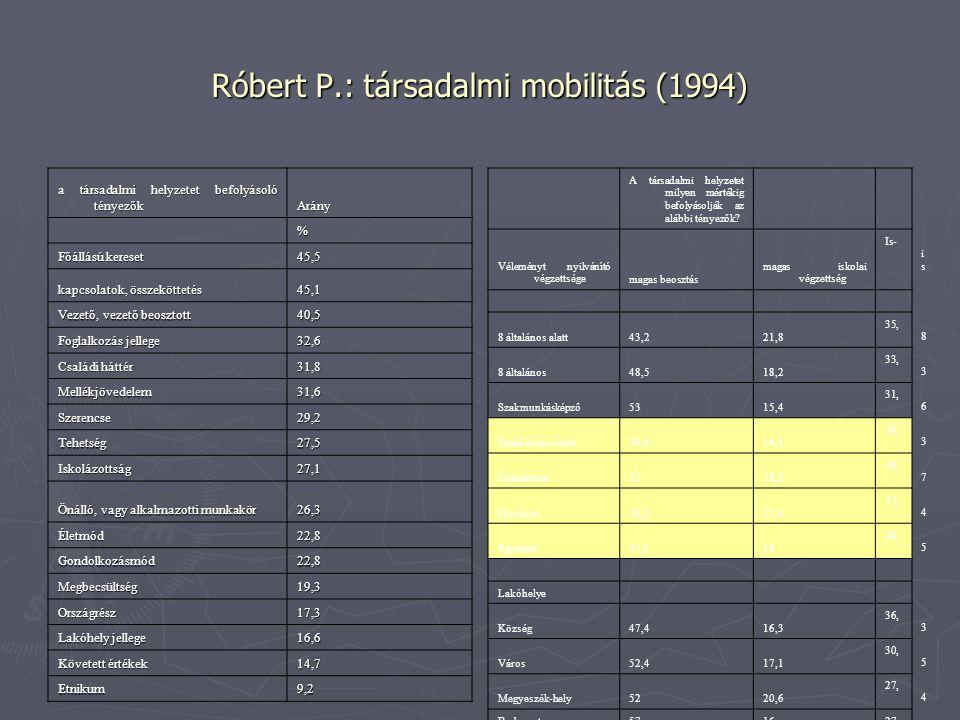 Róbert P.: társadalmi mobilitás (1994)