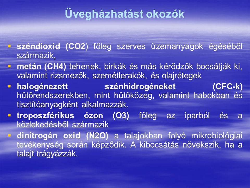Üvegházhatást okozók széndioxid (CO2) főleg szerves üzemanyagok égéséből származik,