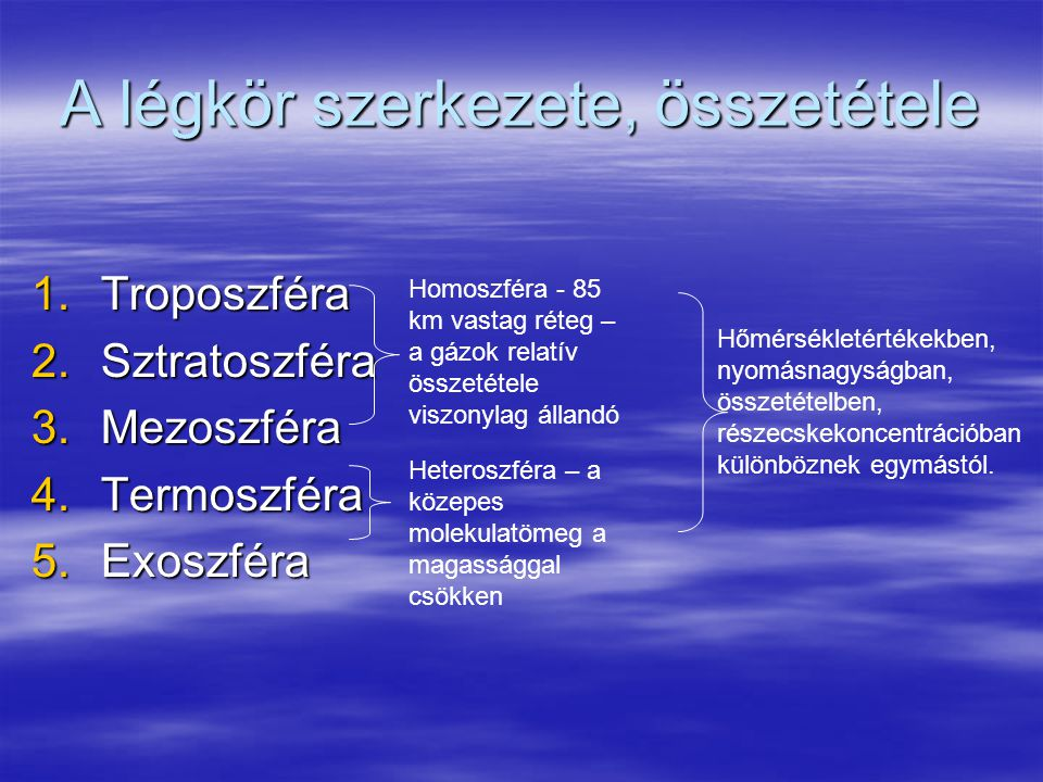 A légkör szerkezete, összetétele