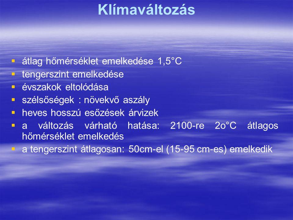 Klímaváltozás átlag hőmérséklet emelkedése 1,5°C