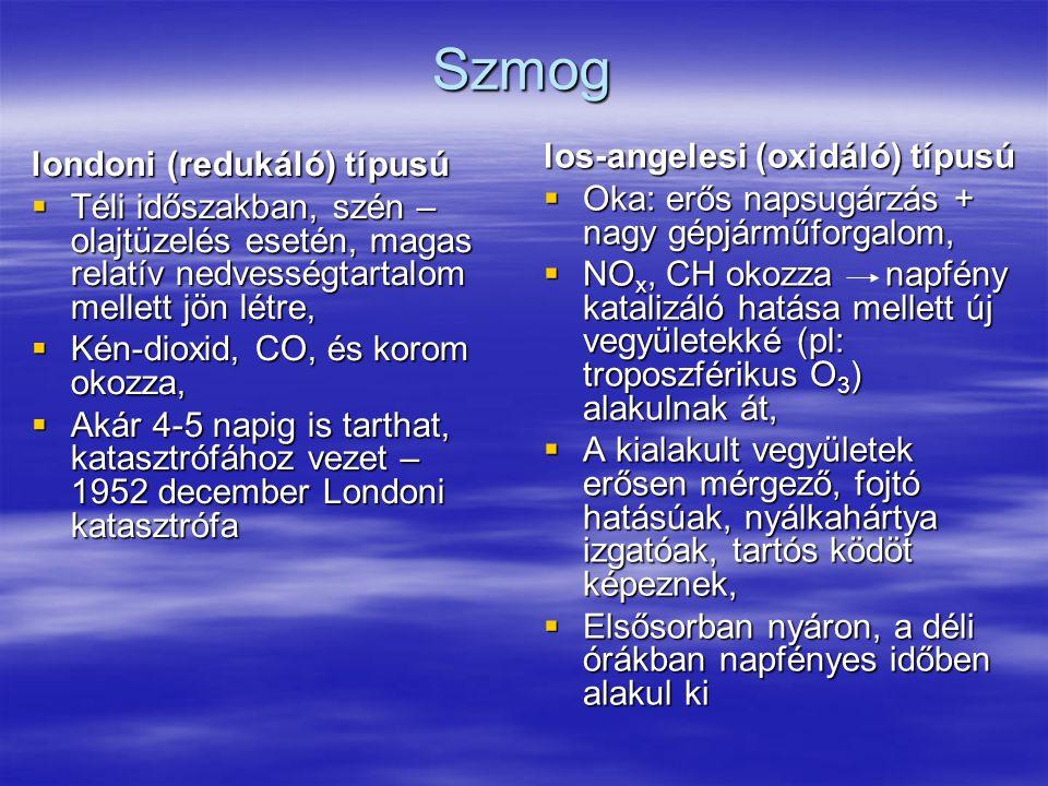 Szmog los-angelesi (oxidáló) típusú londoni (redukáló) típusú