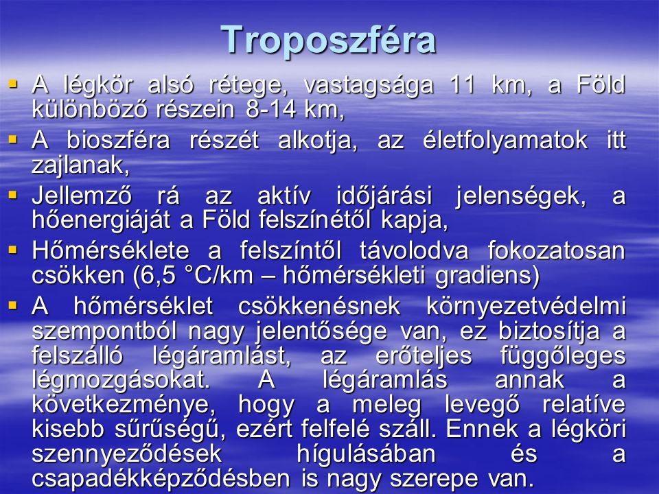 Troposzféra A légkör alsó rétege, vastagsága 11 km, a Föld különböző részein 8-14 km, A bioszféra részét alkotja, az életfolyamatok itt zajlanak,