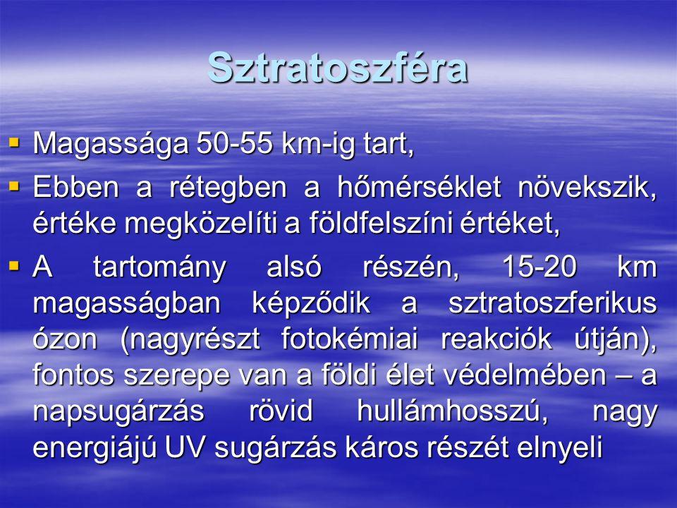 Sztratoszféra Magassága 50-55 km-ig tart,