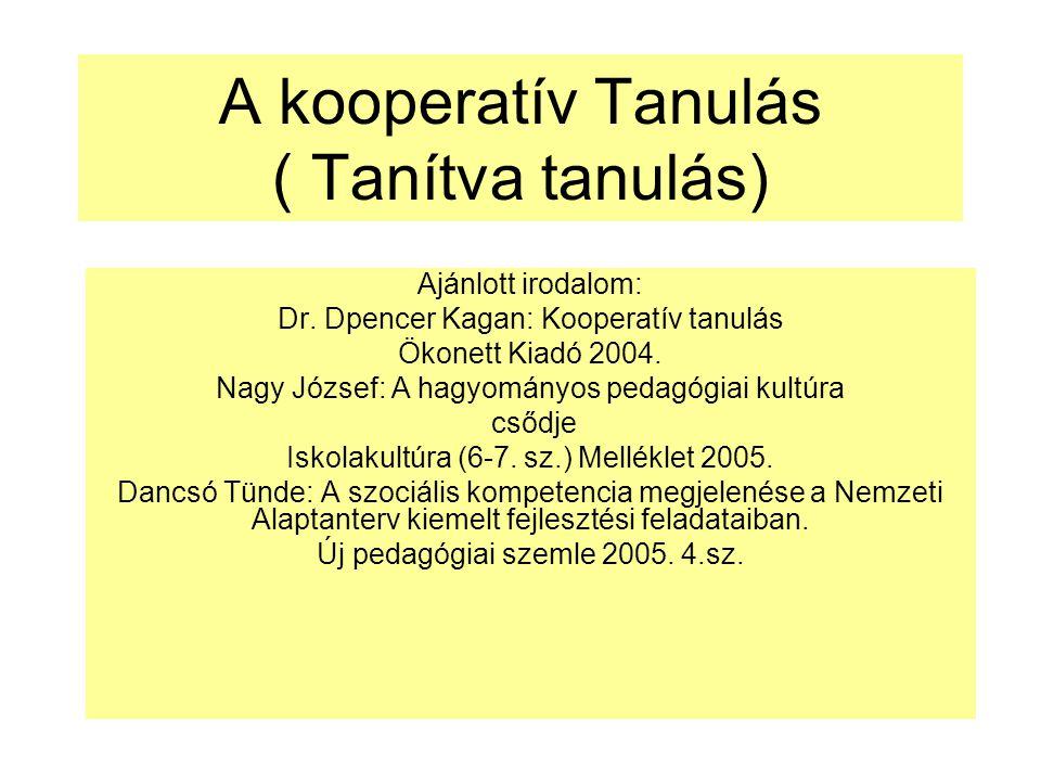 A kooperatív Tanulás ( Tanítva tanulás)