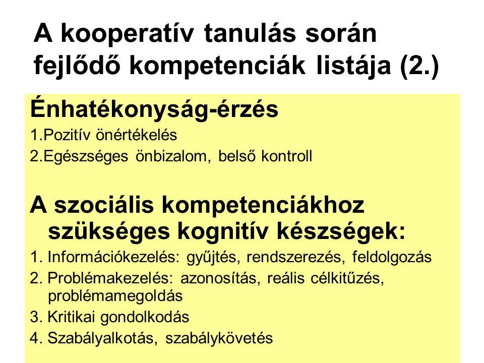 A kooperatív tanulás során fejlődő kompetenciák listája (2.)