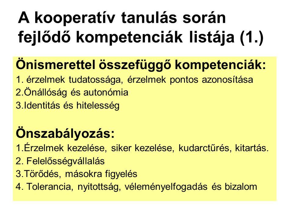 A kooperatív tanulás során fejlődő kompetenciák listája (1.)