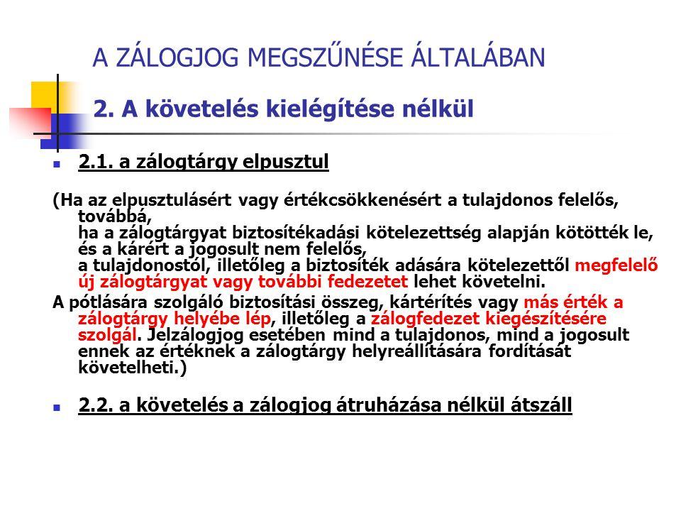 A ZÁLOGJOG MEGSZŰNÉSE ÁLTALÁBAN 2. A követelés kielégítése nélkül