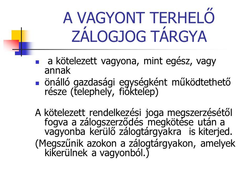 A VAGYONT TERHELŐ ZÁLOGJOG TÁRGYA
