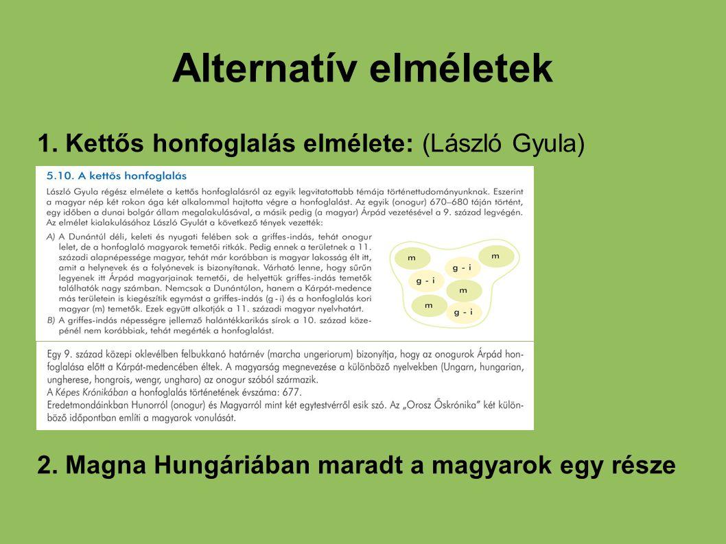 Alternatív elméletek 1. Kettős honfoglalás elmélete: (László Gyula)