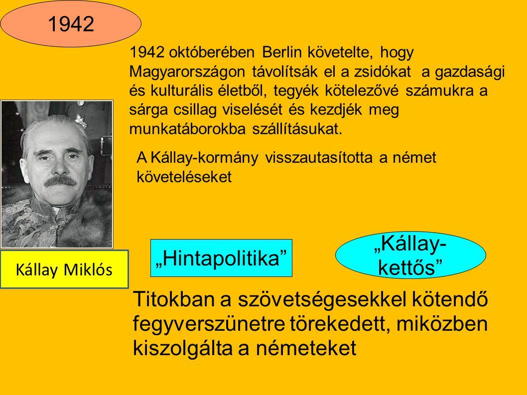"""1942 """"Kállay-kettős """"Hintapolitika"""