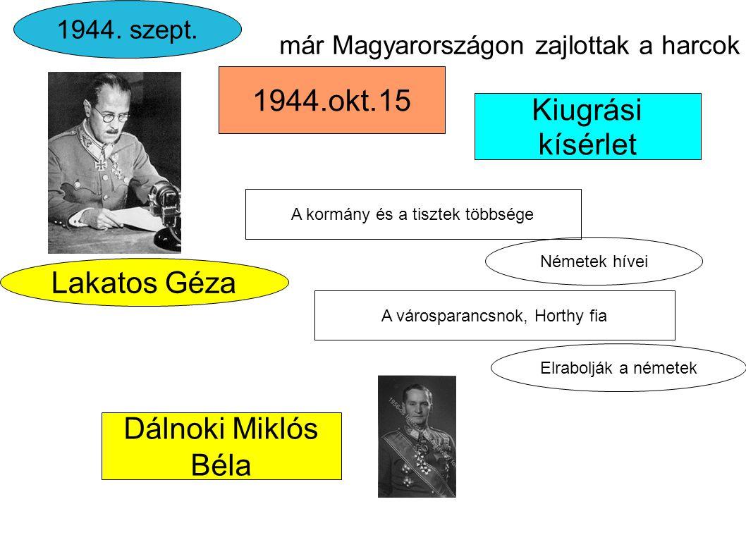 1944.okt.15 Kiugrási kísérlet Lakatos Géza Dálnoki Miklós Béla