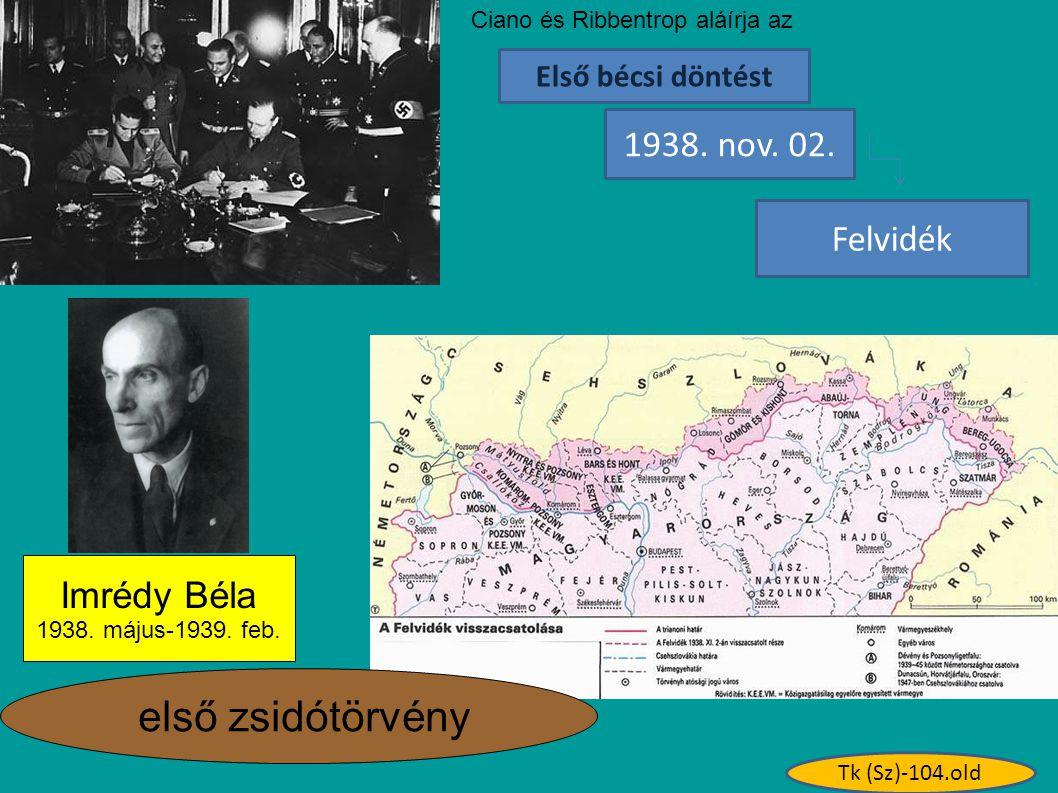 első zsidótörvény 1938. nov. 02. Felvidék Imrédy Béla