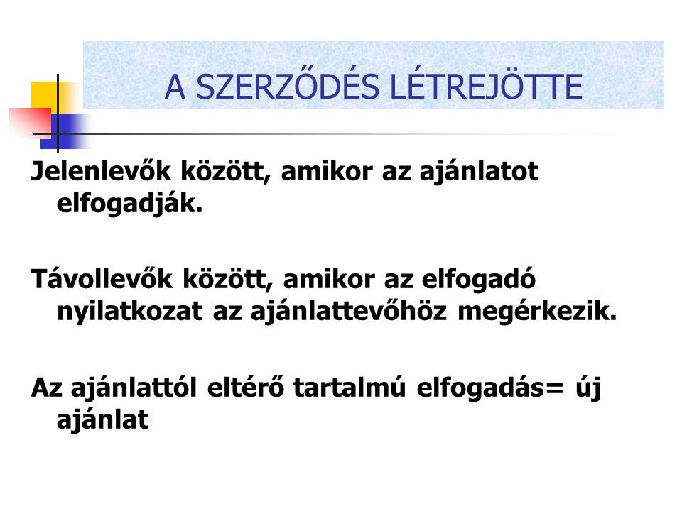 A SZERZŐDÉS LÉTREJÖTTE