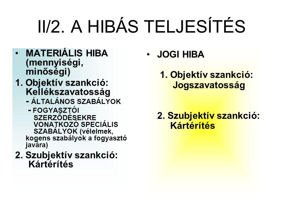 II/2. A HIBÁS TELJESÍTÉS MATERIÁLIS HIBA (mennyiségi, minőségi)