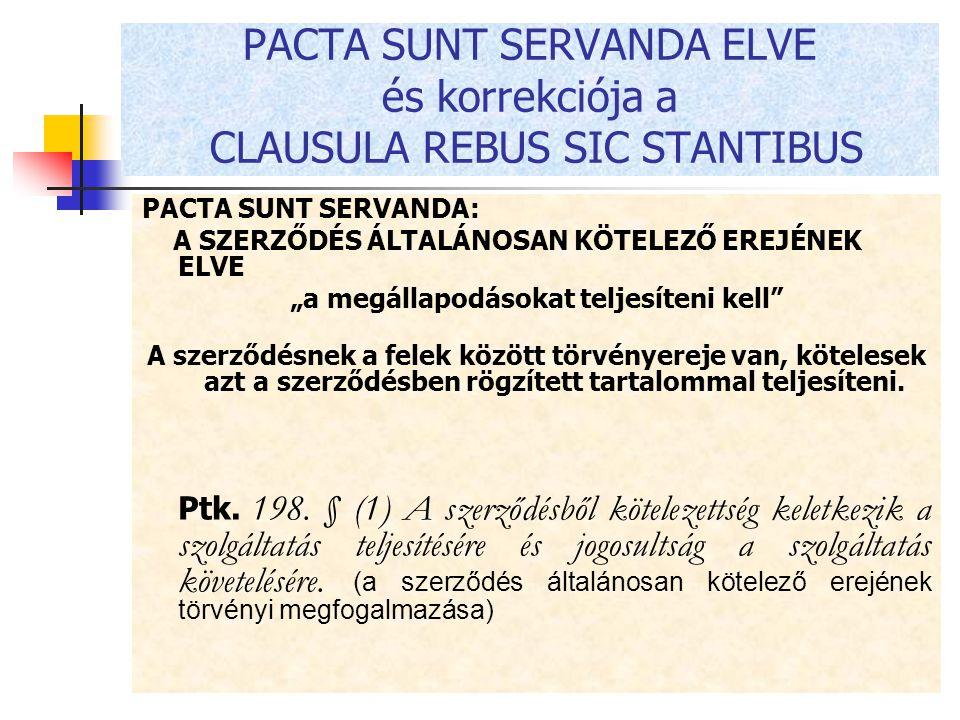 PACTA SUNT SERVANDA ELVE és korrekciója a CLAUSULA REBUS SIC STANTIBUS