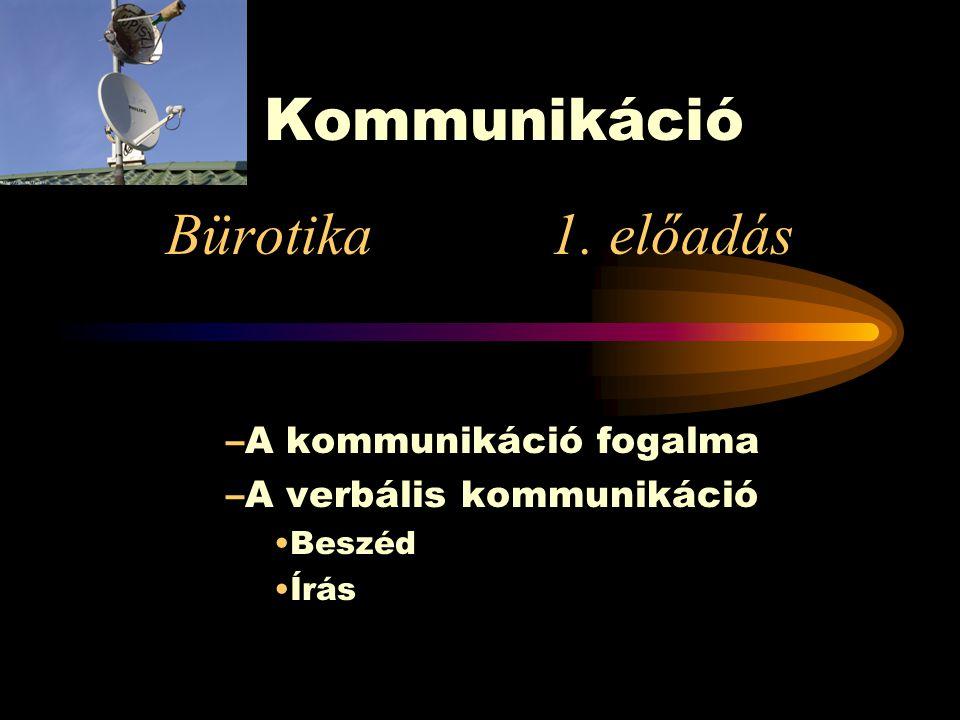 Kommunikáció Bürotika 1. előadás A kommunikáció fogalma