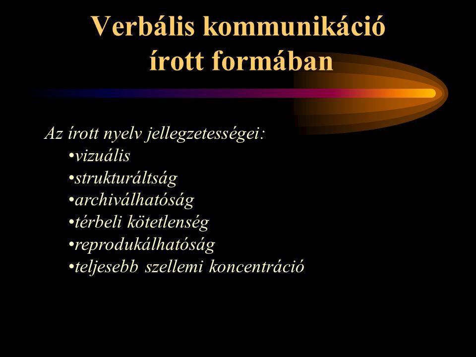 Verbális kommunikáció írott formában