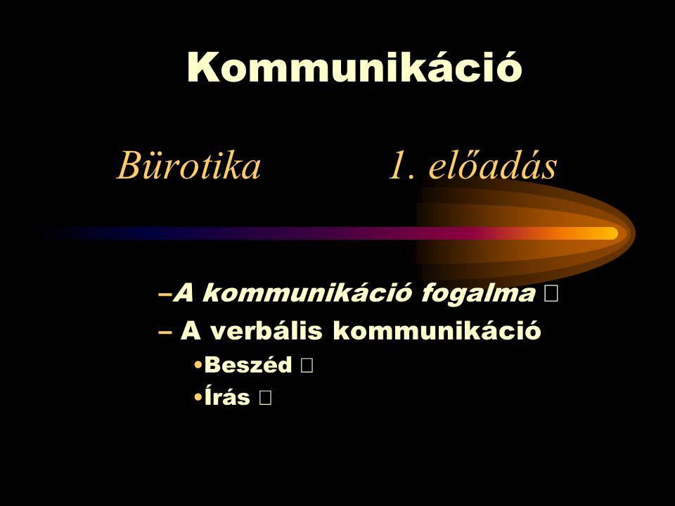 Kommunikáció Bürotika 1. előadás A kommunikáció fogalma Ö