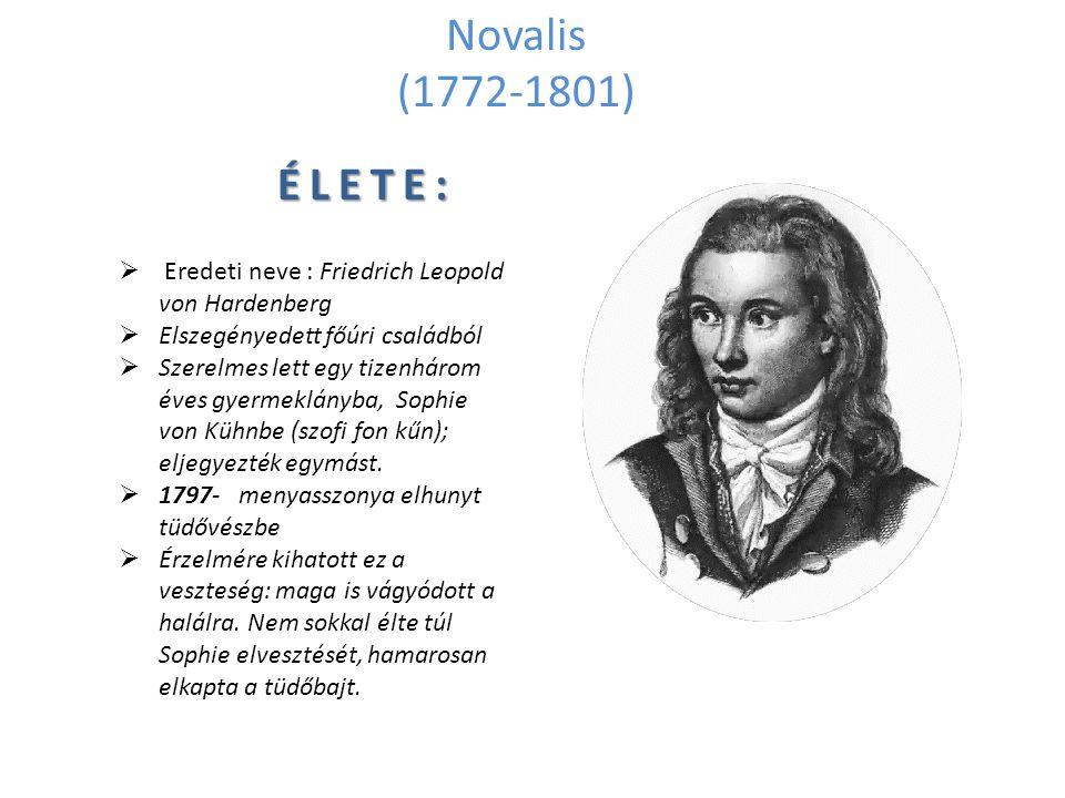 Novalis (1772-1801) ÉLETE: Eredeti neve : Friedrich Leopold von Hardenberg. Elszegényedett főúri családból.