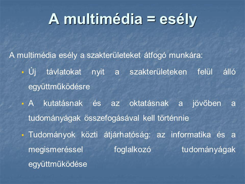 A multimédia = esély A multimédia esély a szakterületeket átfogó munkára: Új távlatokat nyit a szakterületeken felül álló együttműködésre.