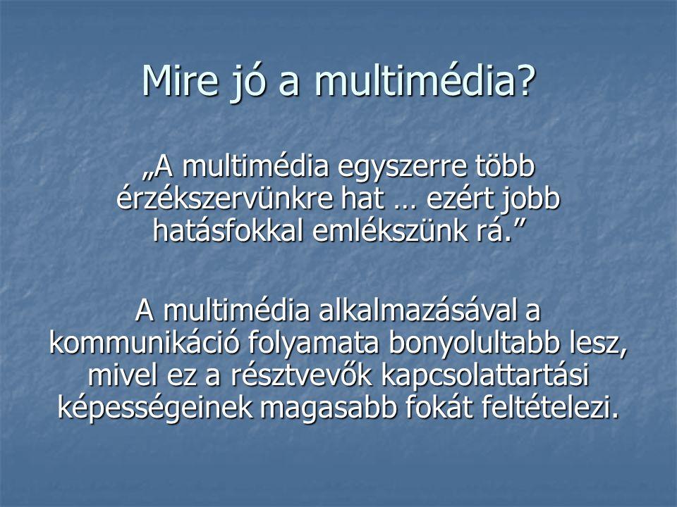 """Mire jó a multimédia """"A multimédia egyszerre több érzékszervünkre hat … ezért jobb hatásfokkal emlékszünk rá."""