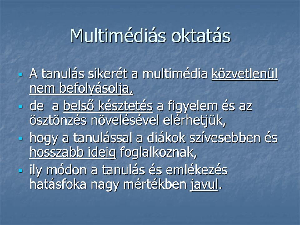 Multimédiás oktatás A tanulás sikerét a multimédia közvetlenül nem befolyásolja,