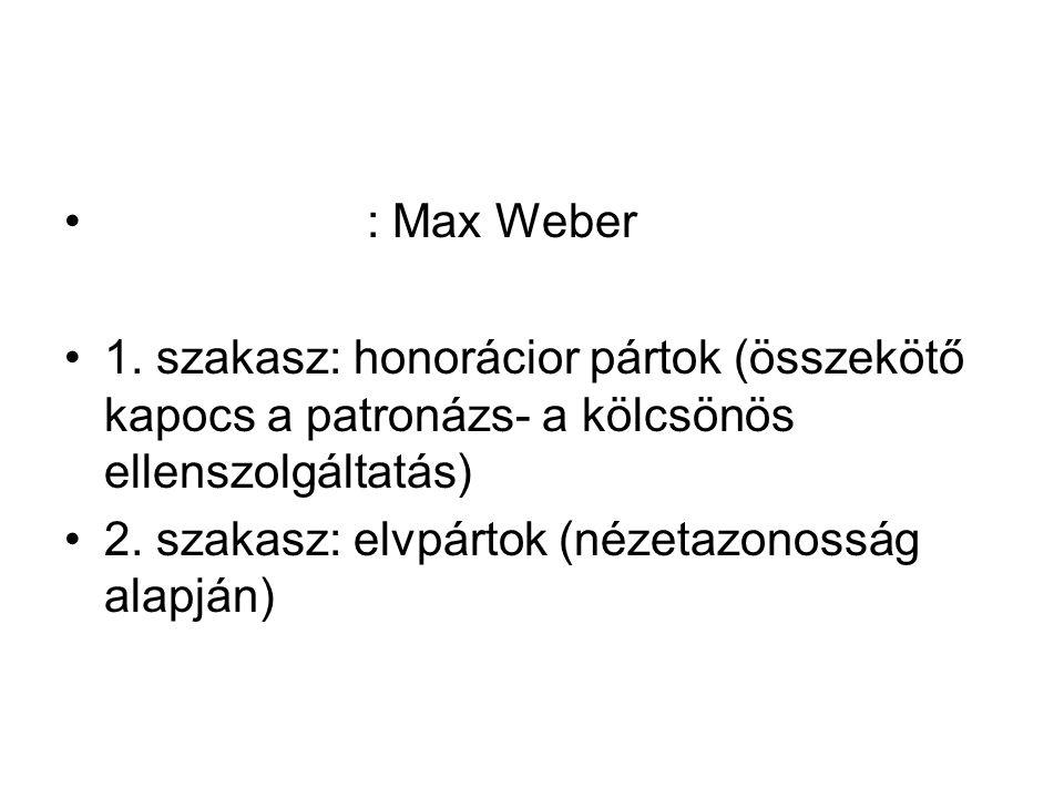: Max Weber 1. szakasz: honorácior pártok (összekötő kapocs a patronázs- a kölcsönös ellenszolgáltatás)