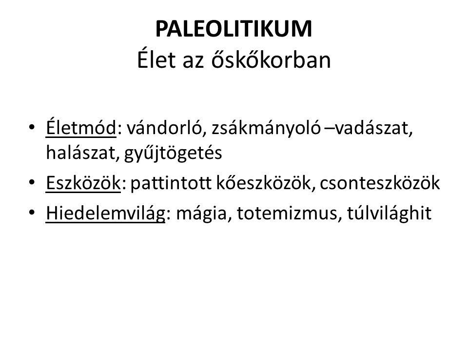 PALEOLITIKUM Élet az őskőkorban